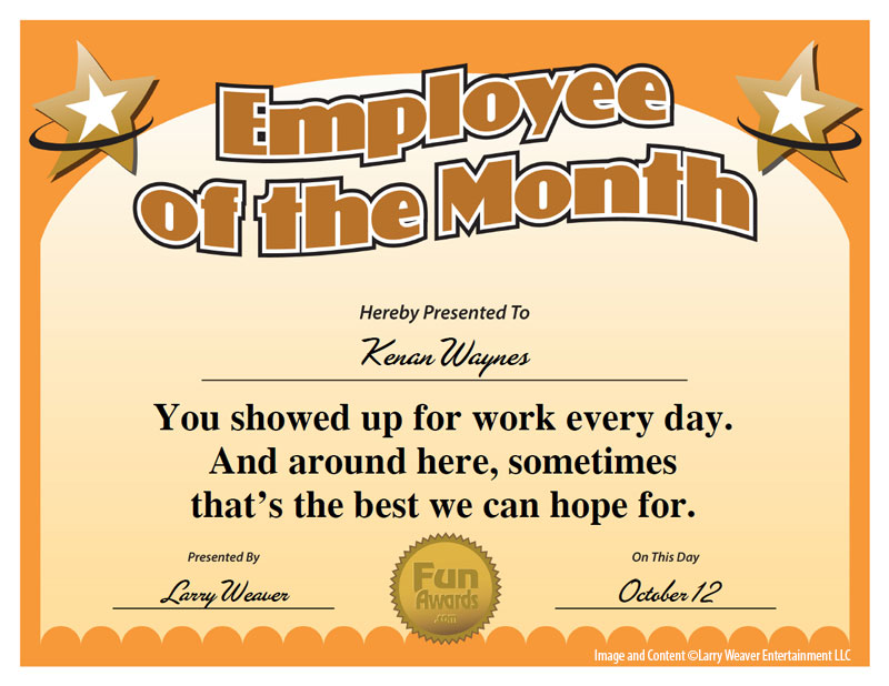 Funny Employee Awards Humorous Award Certificates For