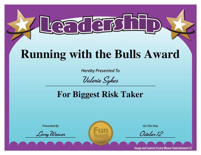 Running with the Bulls Award